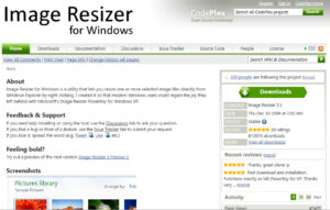 Screen shot of the image resizer website.