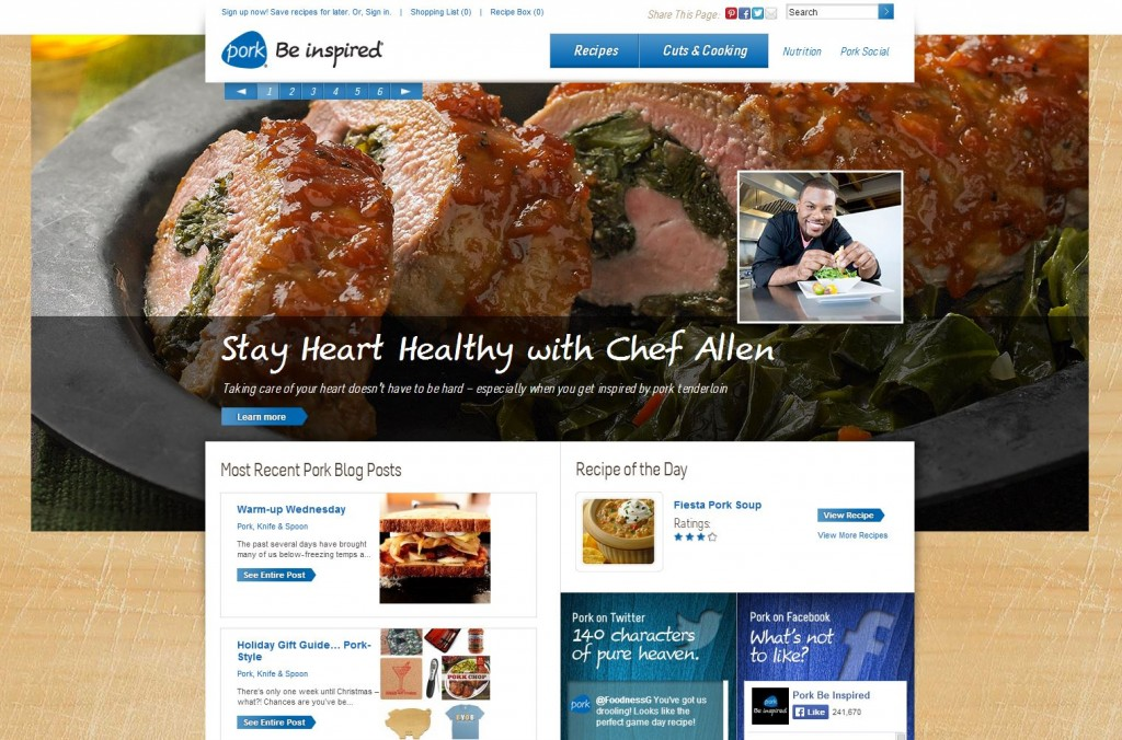 Pork Be Inspired Agricultural Marketing Website