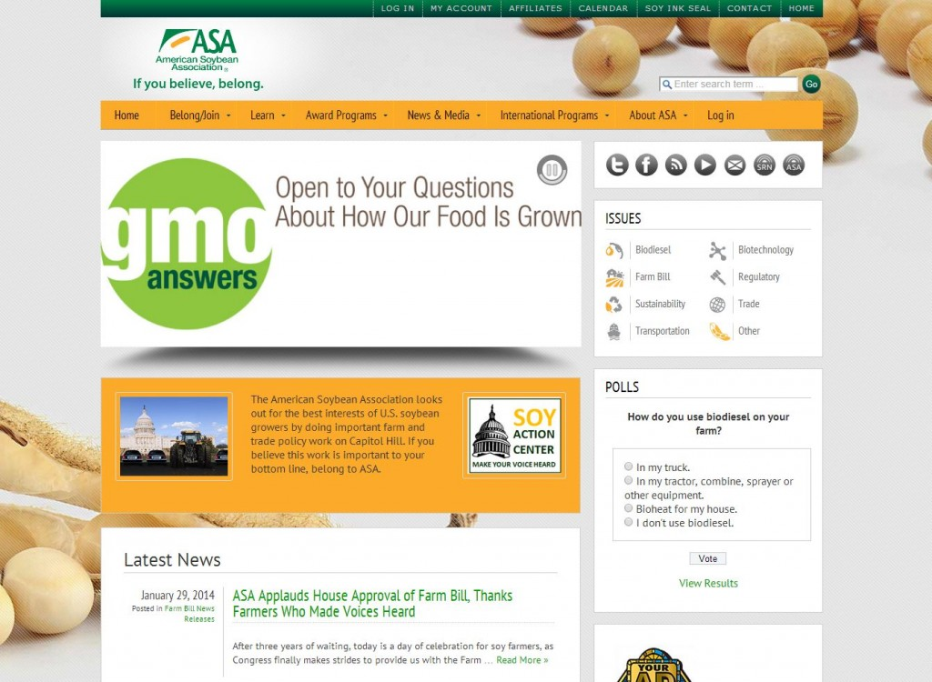 American Soybean Association Agricultural Website