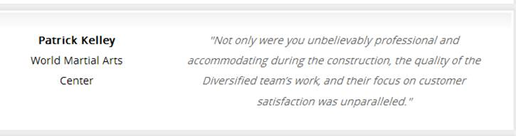 Diversified Construction Testimonial
