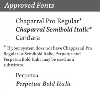 Approved Fonts