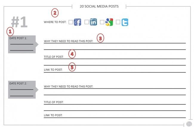 Plan 20 social media posts
