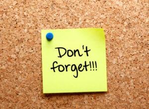 Reminder sticky note