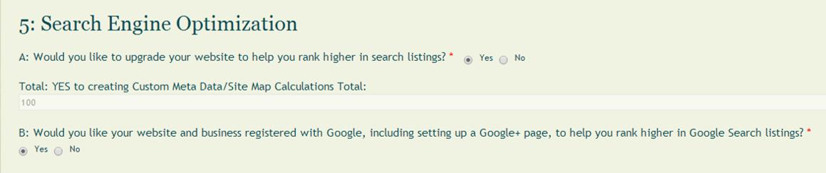 Search Engine section of MayeCreate's Website Estimator