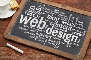 Web design written on a chalkboard
