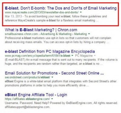 Eblast Search Terms Example