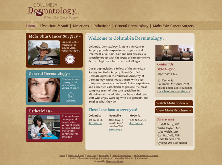 Old Columbia Dermatology Website