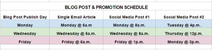 Keep a consistent social media schedule