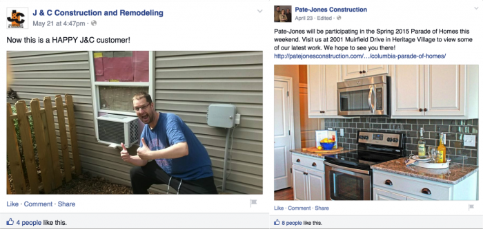 Example Facebook Posts by Construction Companies