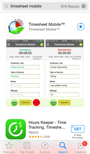 Timesheet Mobile app screenshot