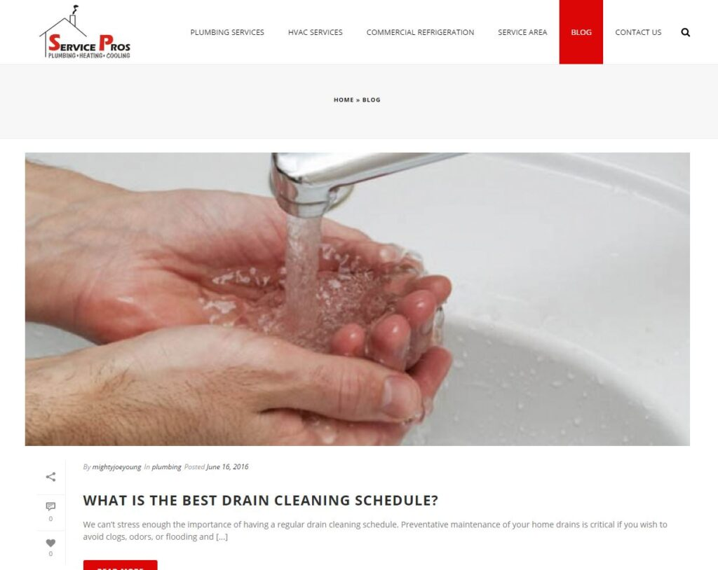 Example of a blog for plumbing websites.