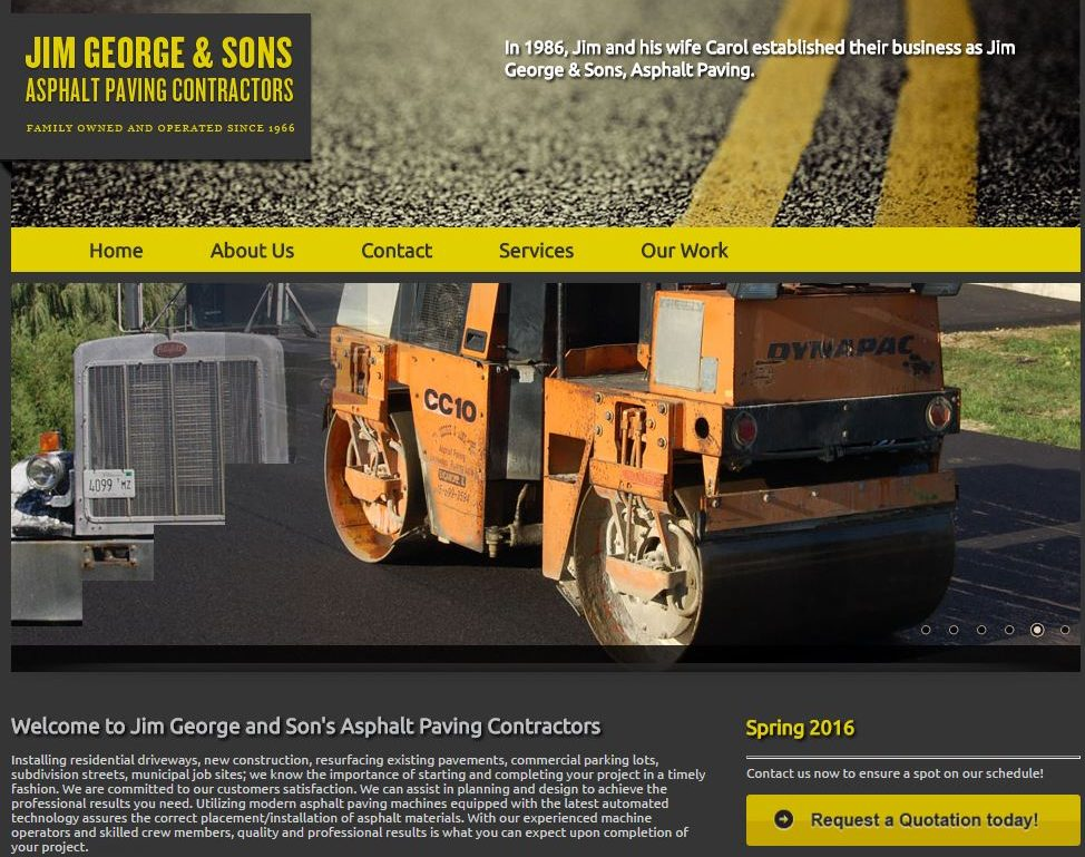 Original photography example for asphalt paving websites.