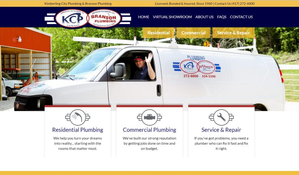 Example of personalized photography on plumbing websites.