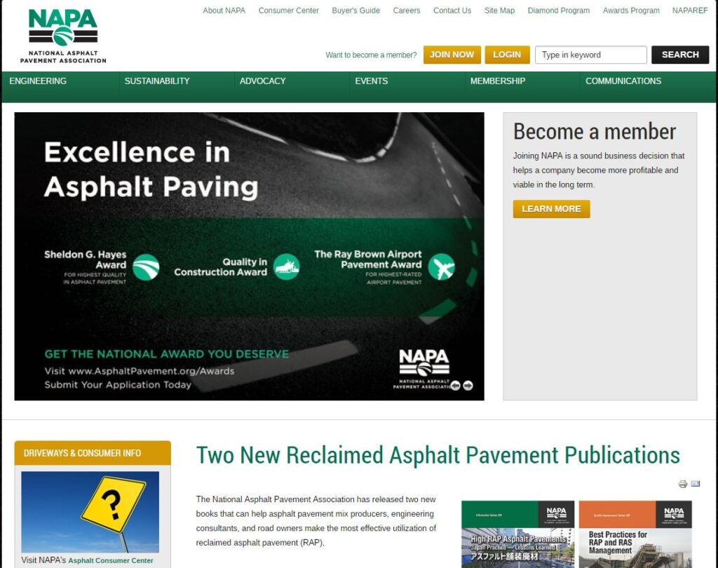 Bright and dark color example for asphalt paving websites.