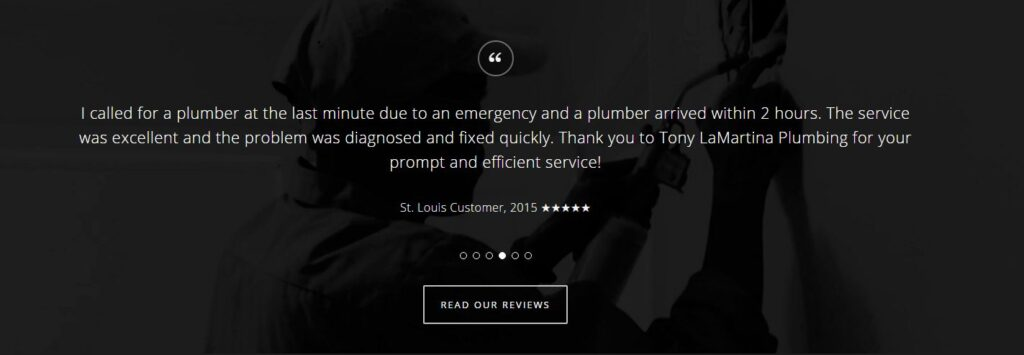 Example of testimonials  for plumbing websites.