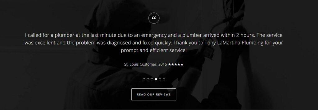 Example of testimonials  for plumbing websites.