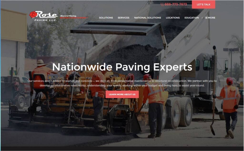 Long scroll example for asphalt paving websites.