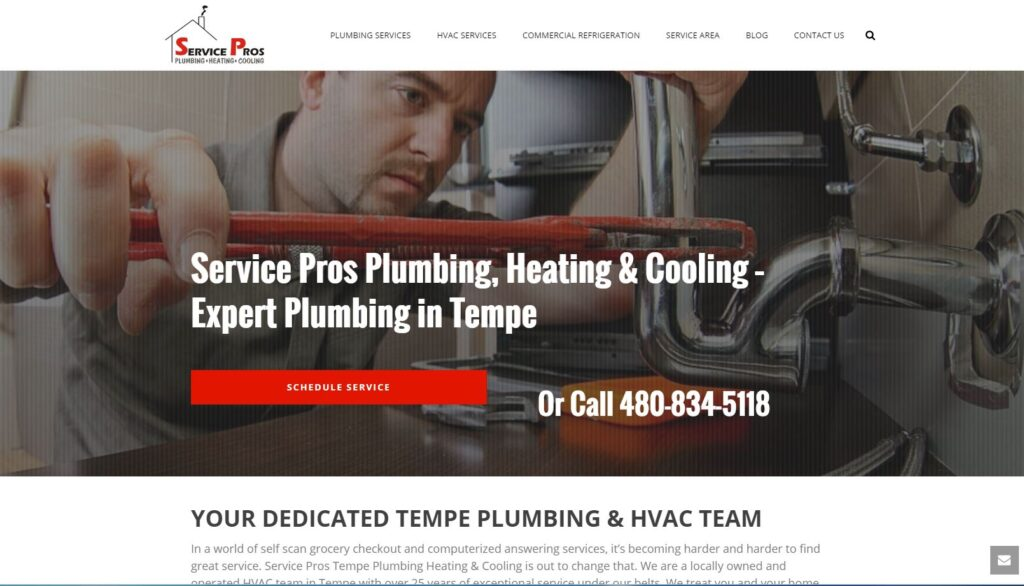 Example of large fonts on plumbing websites.