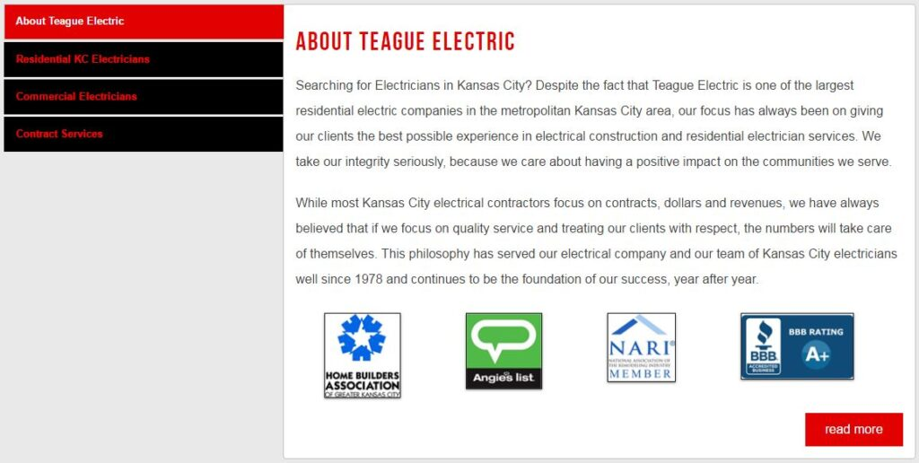 Example of an about page for electrician websites.