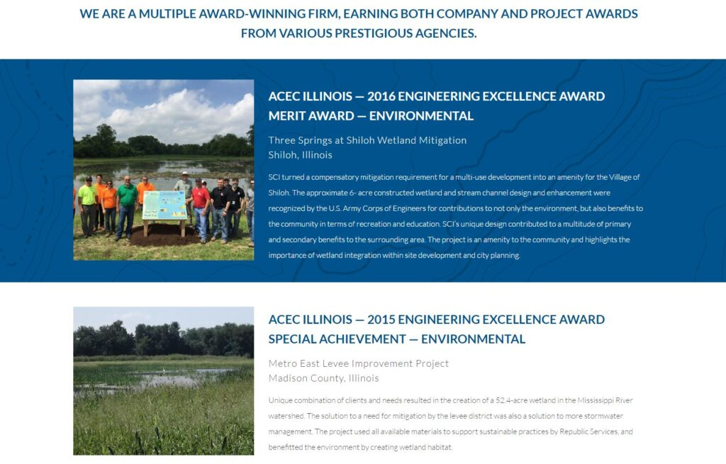 Example of awards for engineering websites.