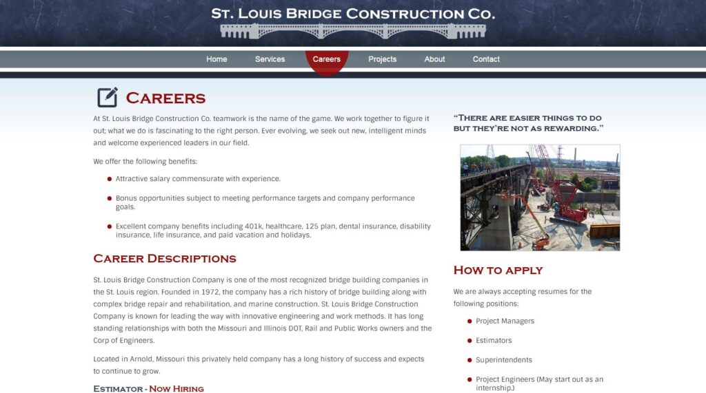 Example of a careers page for engineering websites.