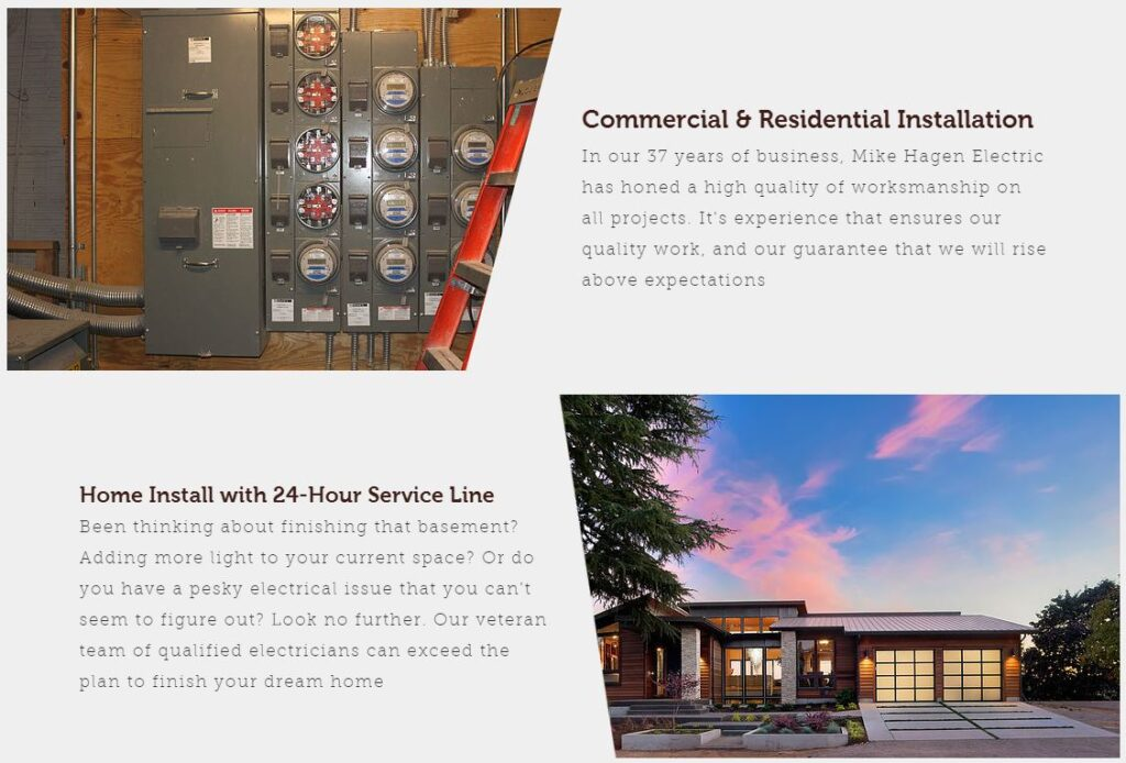 Example of specific services for electrician websites.