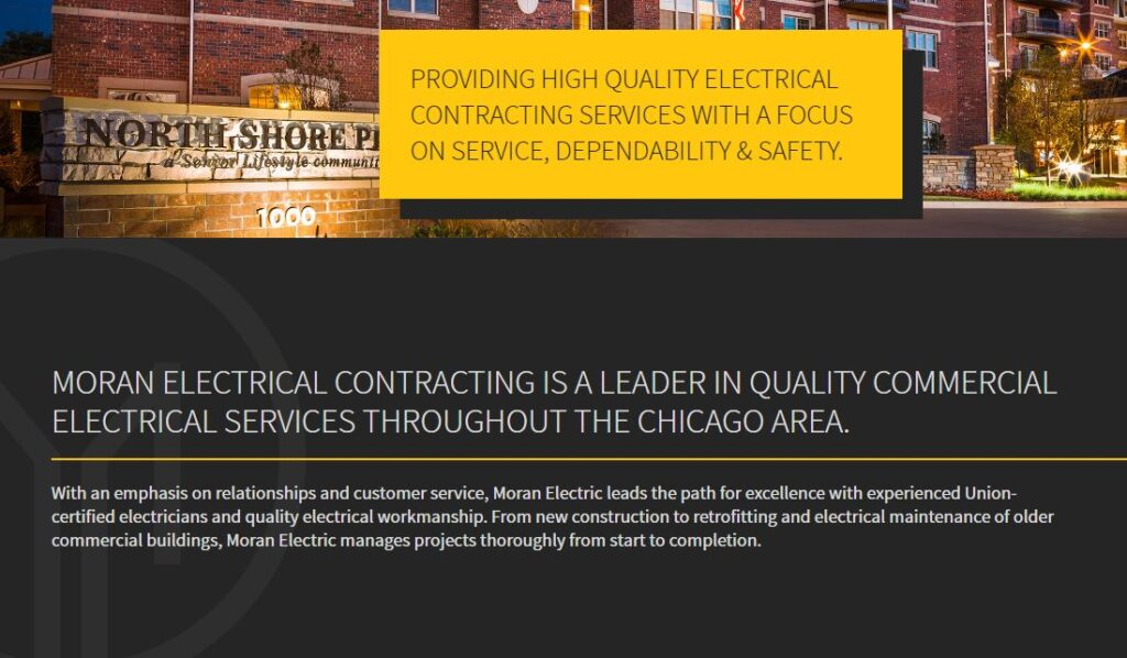 Modern Contemporary Fonts example for electrician websites.