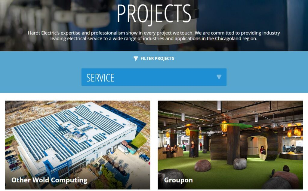 Example of a portfolio for electrical contractor websites.