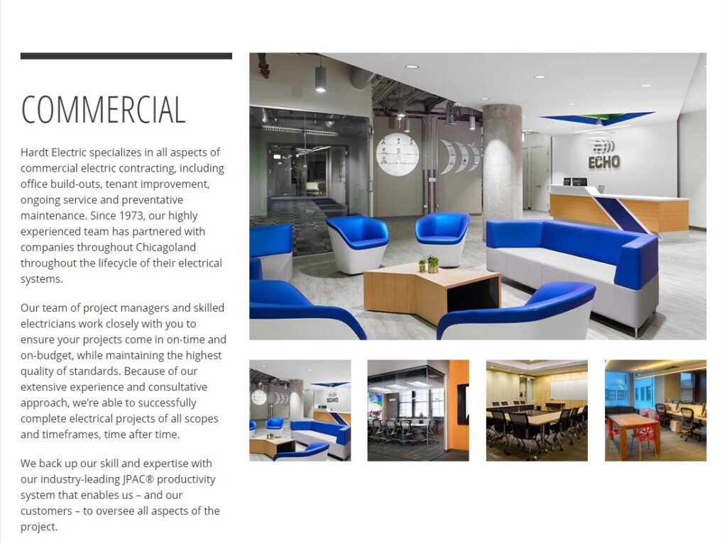 Professional Looking Photography example for electrician websites.