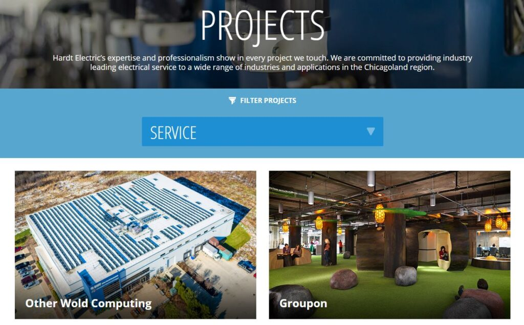 Galleries and Slideshows example for electrical contractor websites.