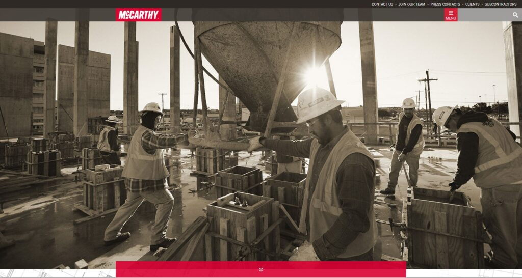 Example of a larger header photo for a construction company website.