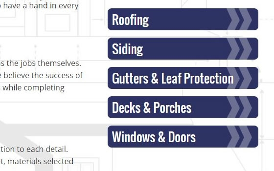 Example of a sidebar navigation on a construction company website.