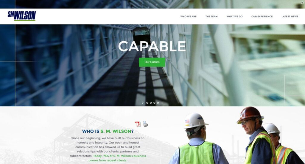 Example of a horizontal design on a construction website.