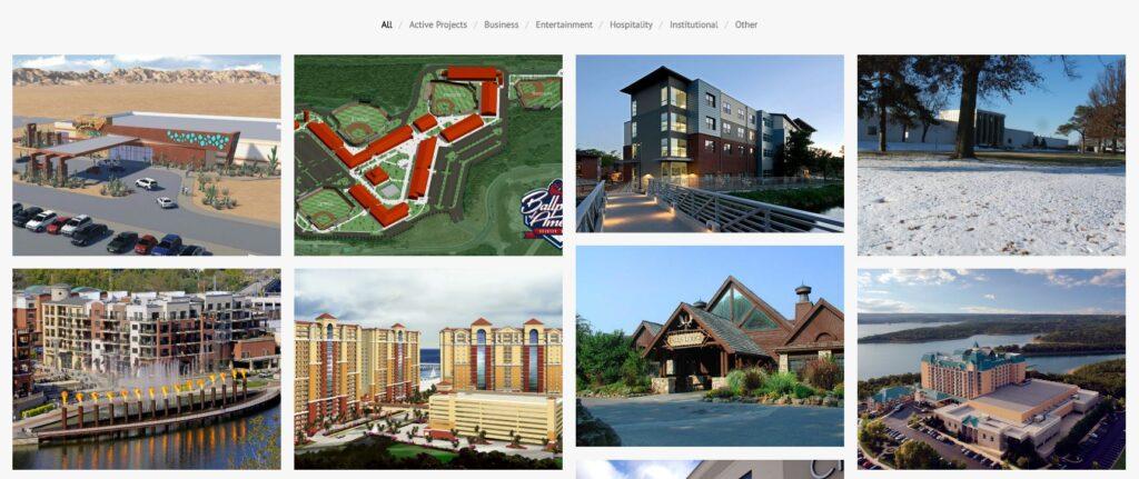 Example of a construction website portfolio.