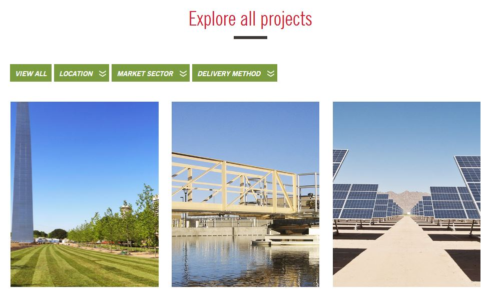 Example of a construction company website portfolio page.