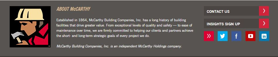 Example of social media icons on a construction company website.