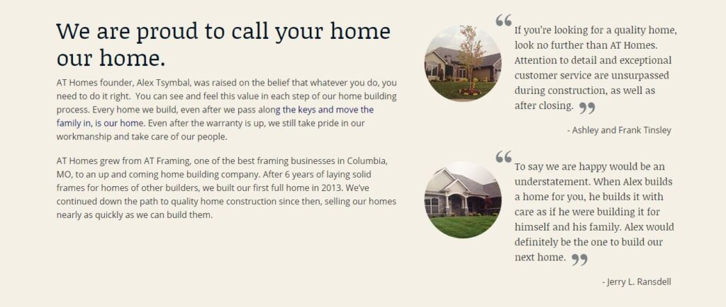 Example of a construction website testimonial.