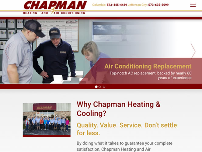 Chapman Heating and Air Conditioning's new website.