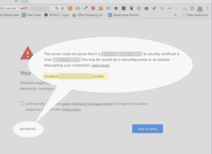 SSL Certificate Message Advanced