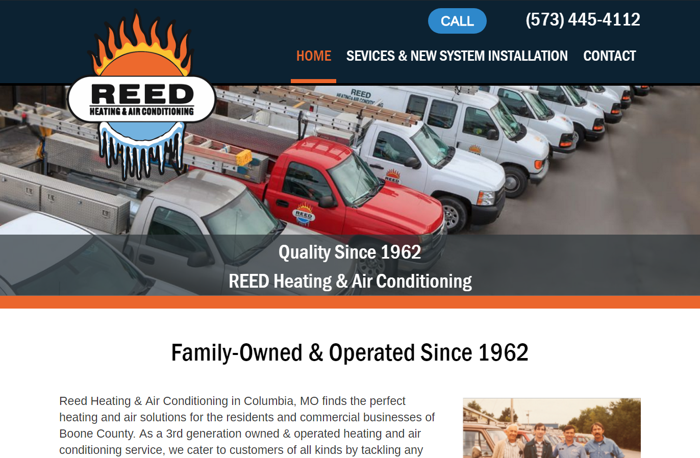 Reed Heating & Air Conditioning's new website