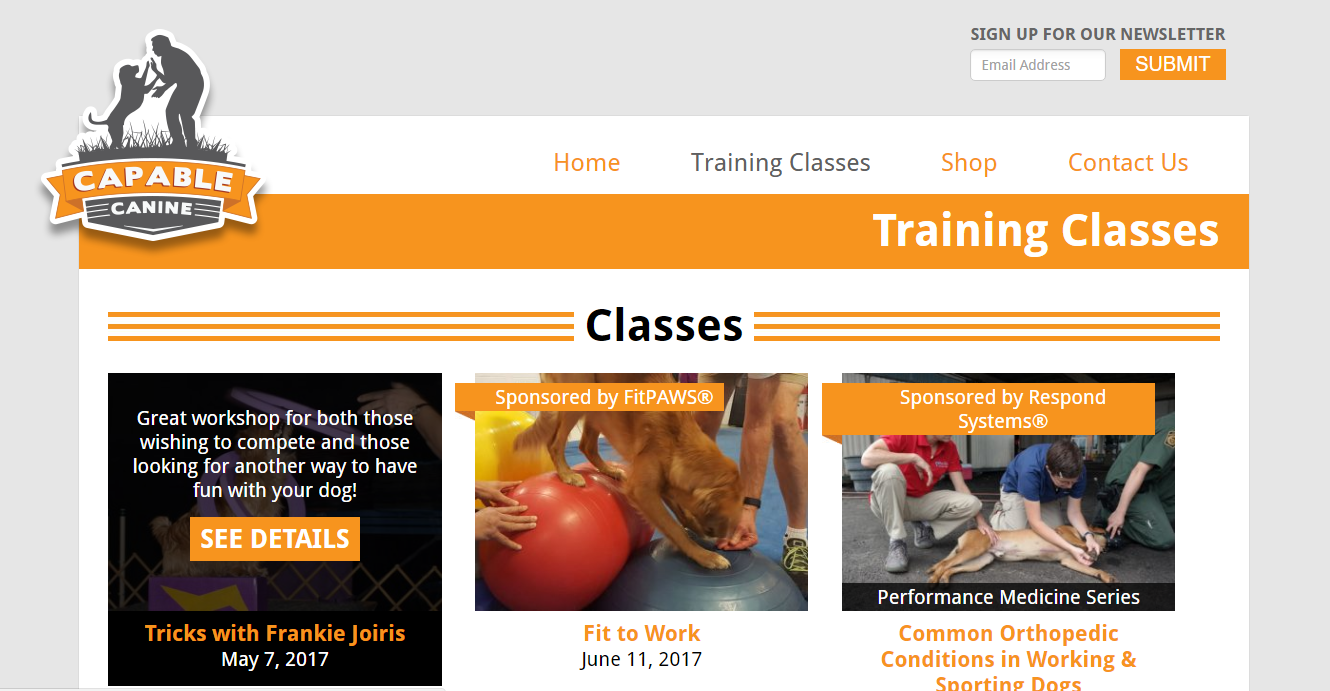 Capable Canine's Updated Training Classes Page