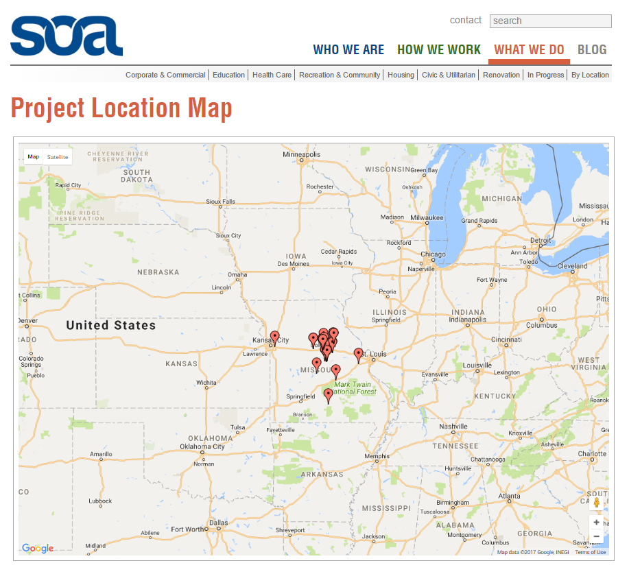 Project Location Map - Projects Section of Construction Website