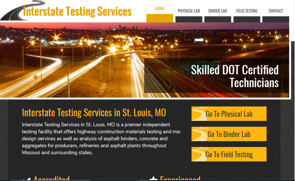 Interstate Testing Services's new website
