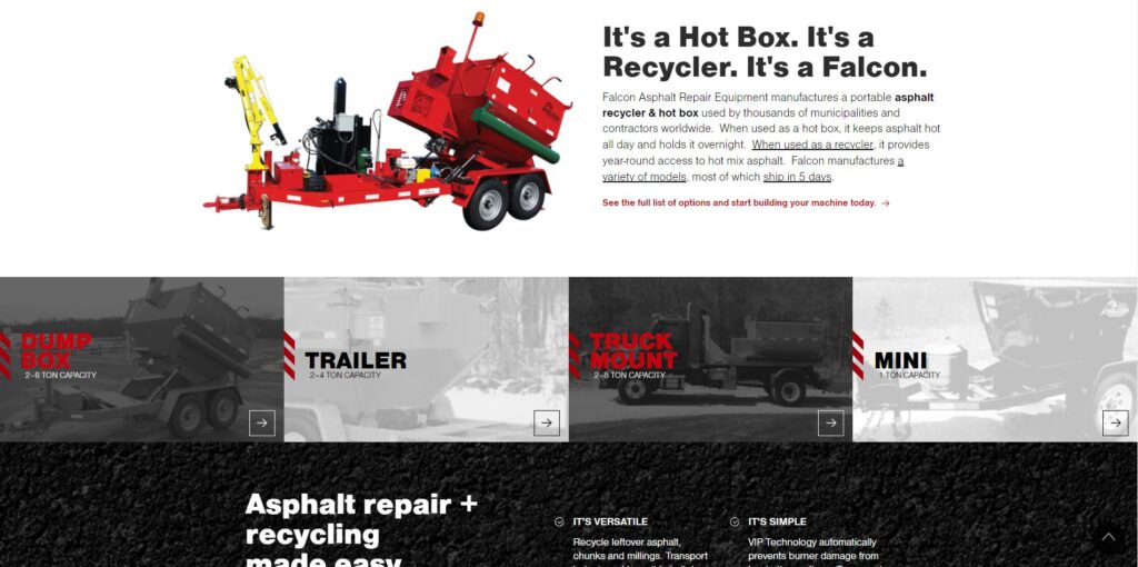 Paving Website Trends - Falcon Asphalt Repair Equipment: Service Pages