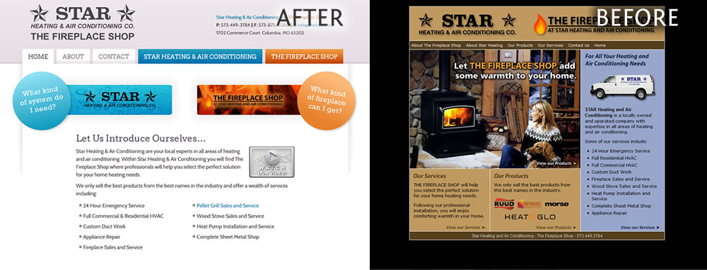 "Star Heating and Air Conditioning's Old ""New"" Website: Before and After"