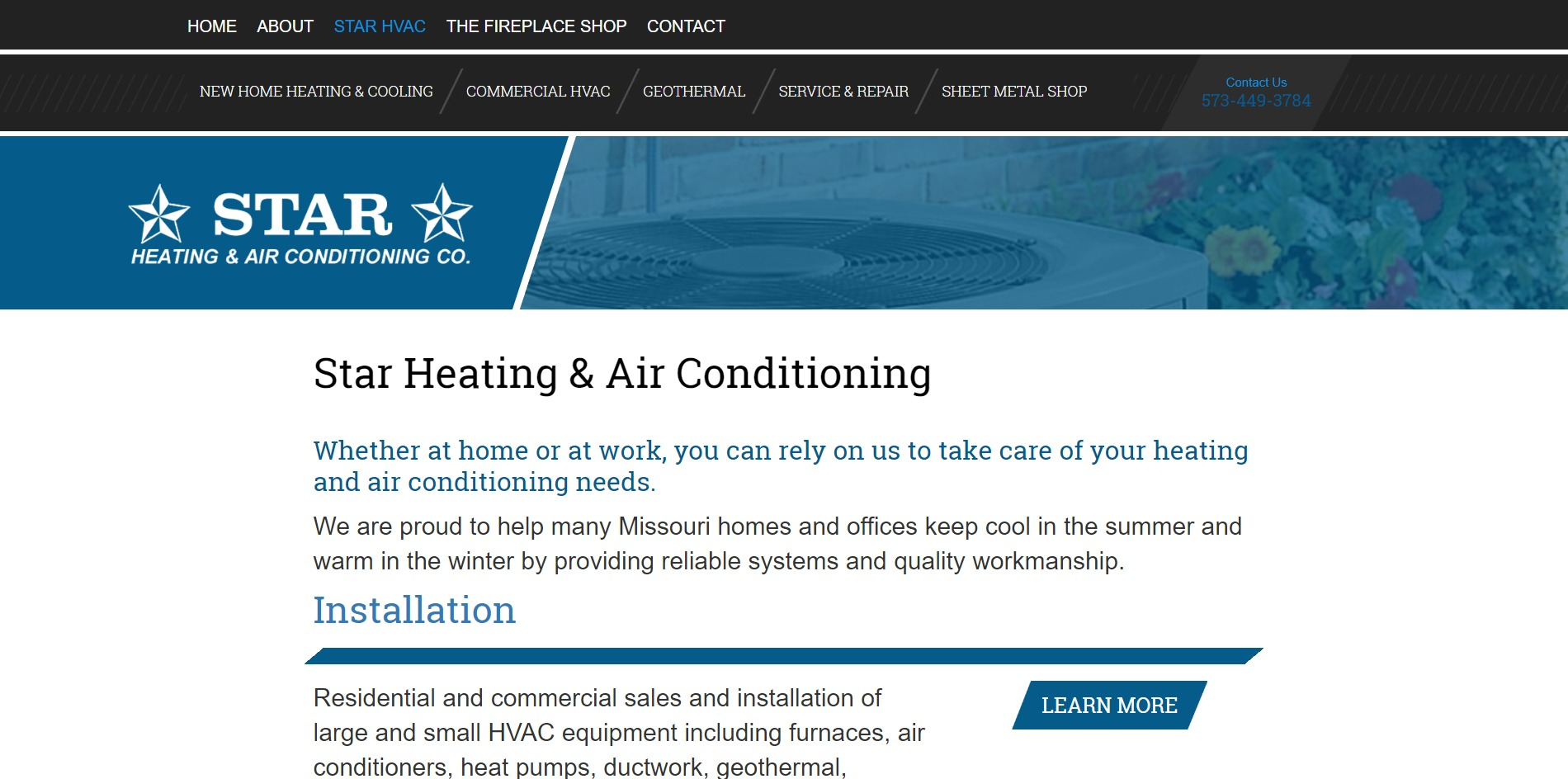 Star Heating and Air Conditioning's New Website: Star Heating Page