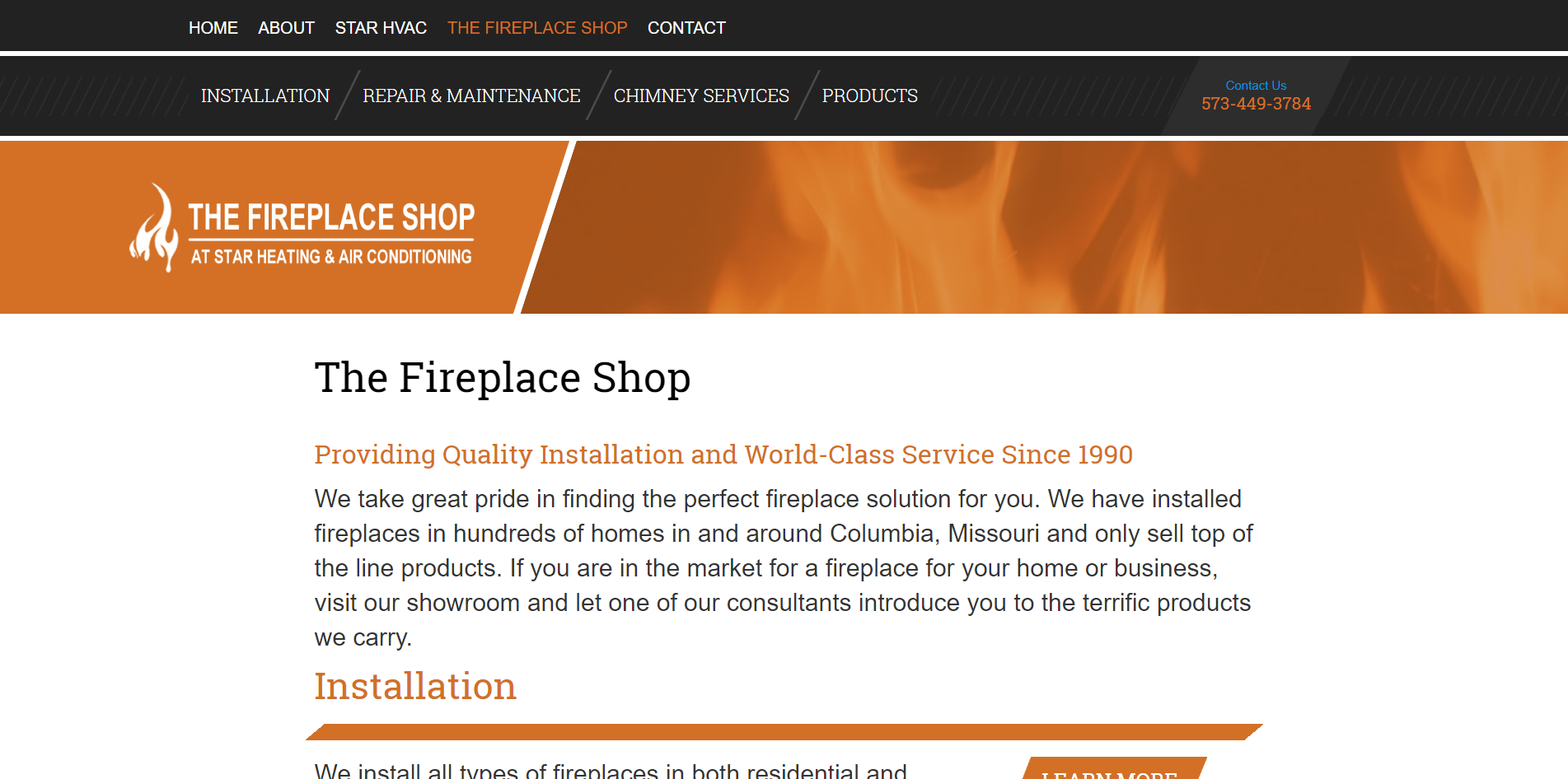 Star Heating and Air Conditioning's New Website: The Fireplace Shop Page