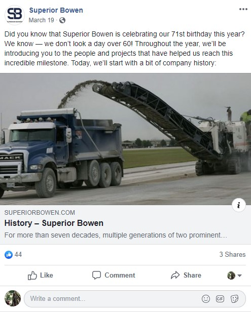 Superior Bowen on Facebook - Investing in Your Brand and People