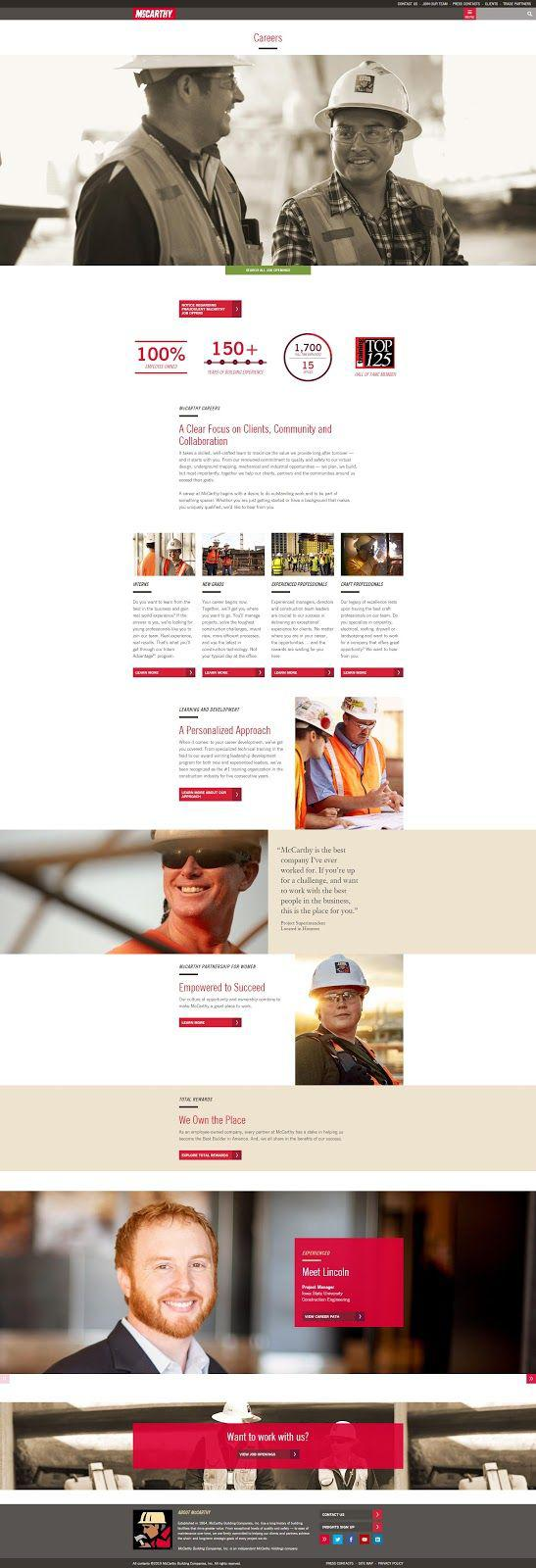 Construction Website Trends - Detailed Career Section