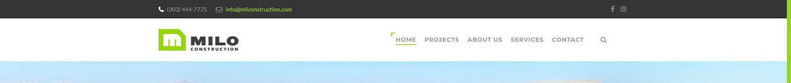 Construction Website Trends - Simple Navigation - Milo
